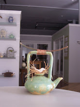 """Bird Nest Teapot"", Ceramic, Copper, Wood & Fiber, by Yvon Dockter, 2009"