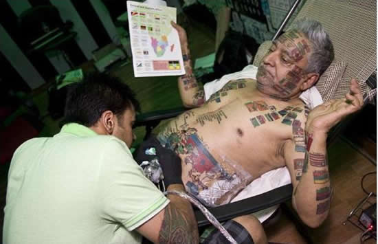 this Indian daredevil wants to cover his body with 220 flag tattoos.