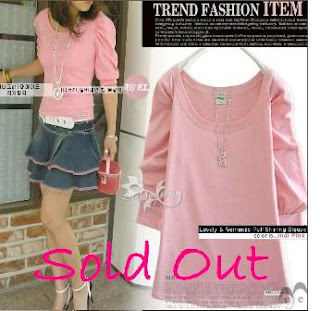 Korean Style 3/4 Sleeve T-Shirt Blouse - Pink