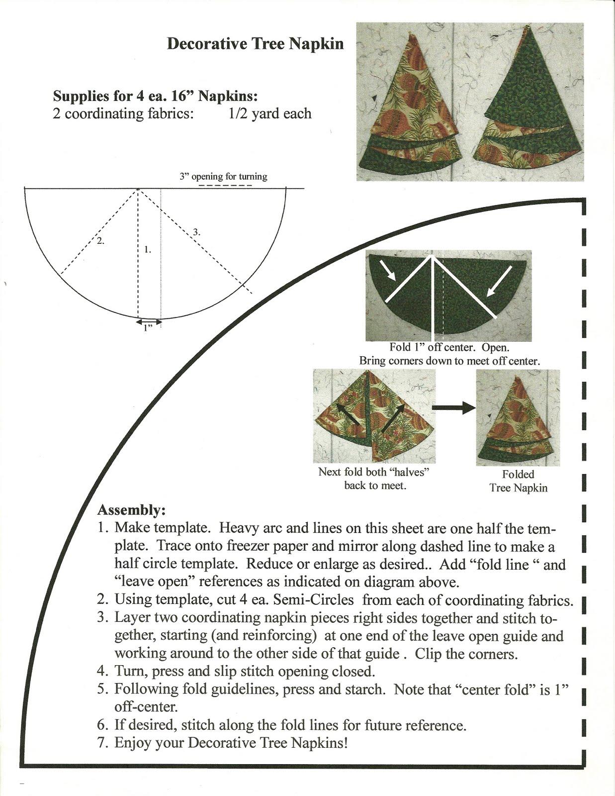 Folded fabric christmas tree pattern - Christmas Tree Napkins