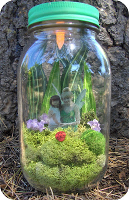unique crafts for kids: pixie hollow in a jar