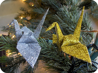 craft project: origami glitter cranes