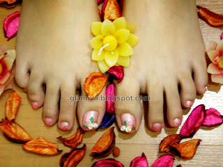 pink and yellow rose 3 d nail art on feet