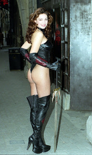 Kelly Brook in Fishnets & Thigh Boots