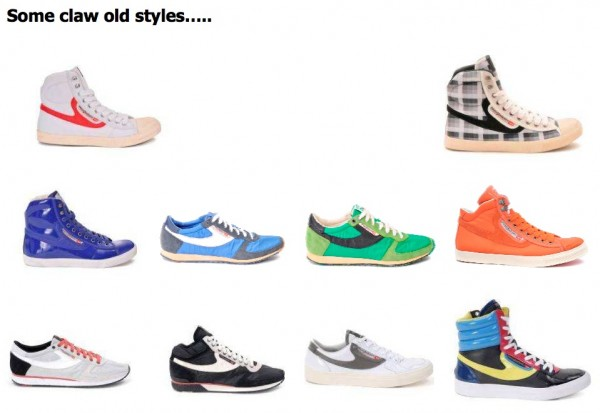 Here are some if their old footwear designs. Diesel Fall Winter 10/11 looks: