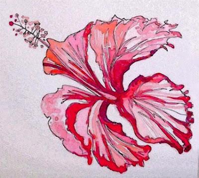 Tahiti blues fleur d 39 hibiscus - Dessin d hibiscus ...