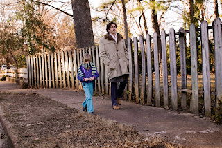 Bob walks his daughter, Mimi, to school