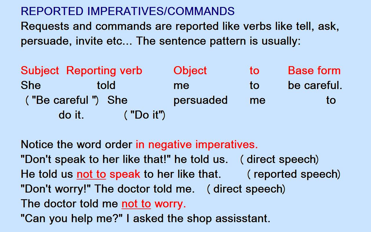 Direct and indirect speech exercise