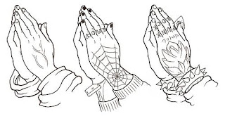 model drawings of Praying hands tattoo designs in worship of god Jesus Christ pictures and Christian religious wallpapers free download