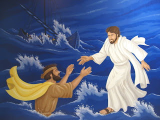 Bible murals for kids Jesus Christ walking on sea water picture