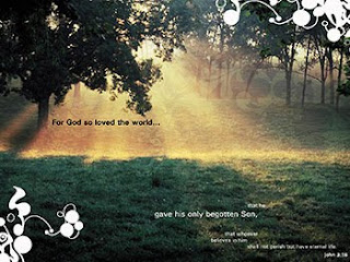 For God so loved the world that he gave his only begotten son famous John 3:16 bible verse with nature background image for desktop