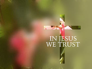 In Jesus we trust nature green background and cross with flowers hd(hq) wallpaper for desktop