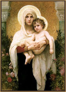 Mother Mary holding cute Child Jesus Christ drawing art pic