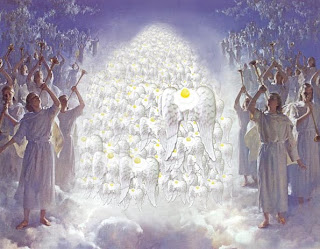 Angels singing while Jesus Christ second coming from god's heaven Christian religious spiritual image gallery free download