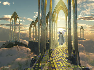 God's heaven Jesus Christ welcoming golden gates in the sky Christian religious pic download free