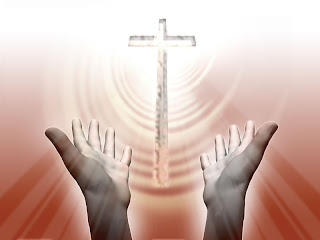 Spiritual hands praying the wooden cross of Jesus Christ religious Christian picture free download