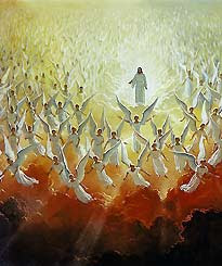 Return of Jesus to the earth from heaven and angels around him free religious Christian photo