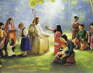 Jesus Christ playing with Children and small girl giving flowers to the Jesus hd(hq) religious Christian wallpaper free download