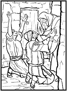 Jesus healing the blind man coloring page and people praising Christ for his miracle download free Christian pictures and religious wallpapers