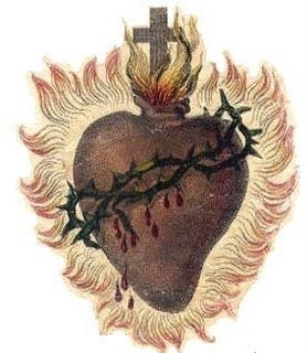 Sacred heart of Jesus with blood drops, Cross, and Thorns drawing image download religious pictures for free