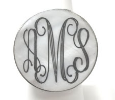 Engravable round shell ring $10 plus $5 for monogramming