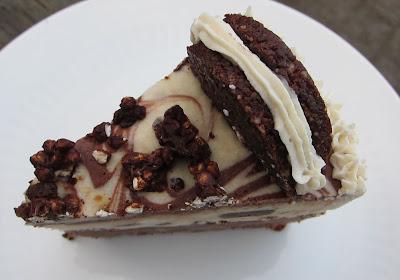 Raw Vegan Oreo Cake on white plate