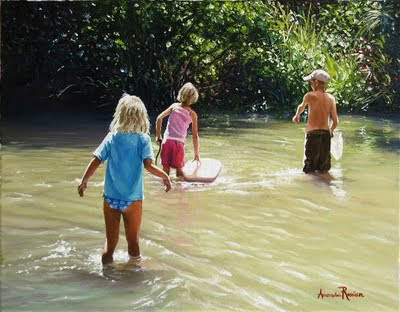 Kids Playing in the Creek', oil on canvas, 45 X 36cm