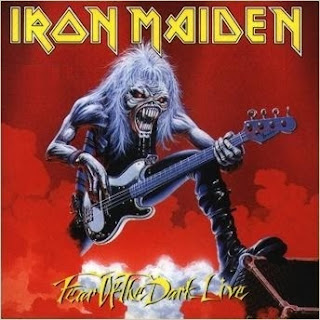Portada Iron Maiden single fear of the dark live