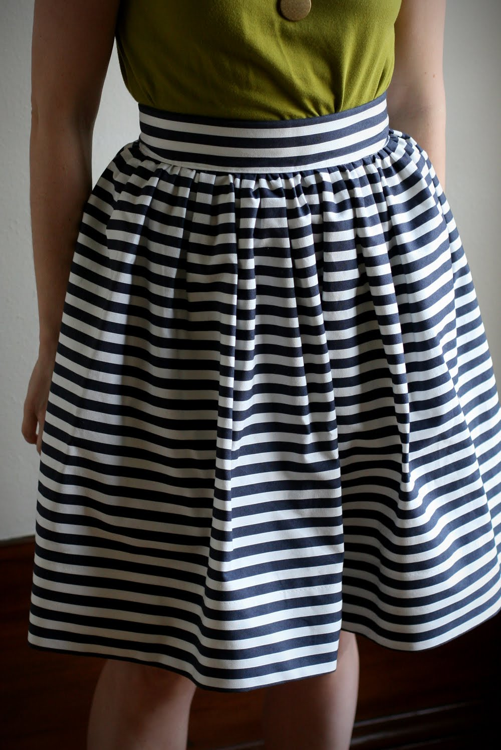 This striped gathered skirt is my latest sewing project. I finished it ...