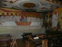 2009, Essex, Anglia. Trapeza manastirii ortodoxe (pictura e realizata de parintele Sofronie)