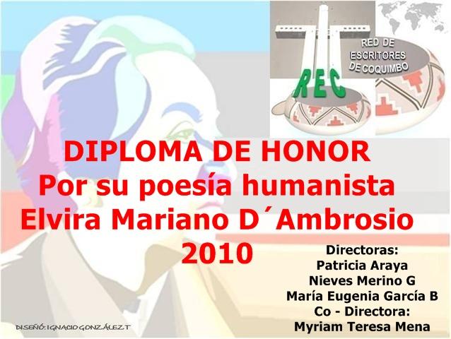 Diploma de Honor: Elvira Mariano D´Ambrosio