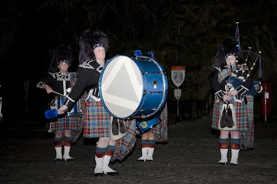 Scottish pipe band in kilts