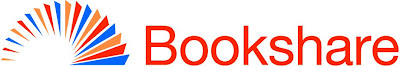 Bookshare logo with spray of book pages and Bookshare in red