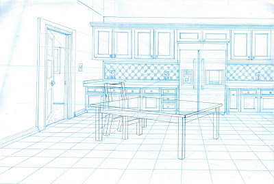 kitchen 1 point perspective. so my first interesting layout was due this week and as you can see itu0027s a one point perspective kitchen with two table chair 1
