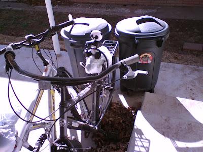 Robo panda rides Trey's bike