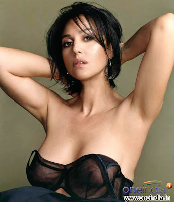 Monica Bellucci slipped black see through top