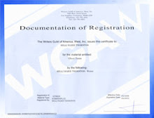 WGA Certificate for my first screenplay