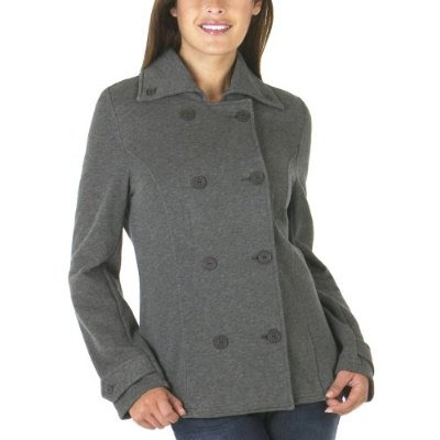It's actually sweatshirt material but looks like a cute little pea coat.