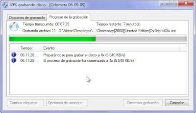 CDBurnerXP Grabando disco