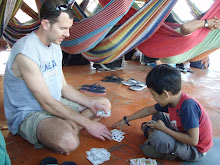Playing cards on the first boat from Iquitos to Tabatinga