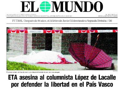 El cadáver de Lacalle cubierto por una sábana, el 7 de mayo de 2000