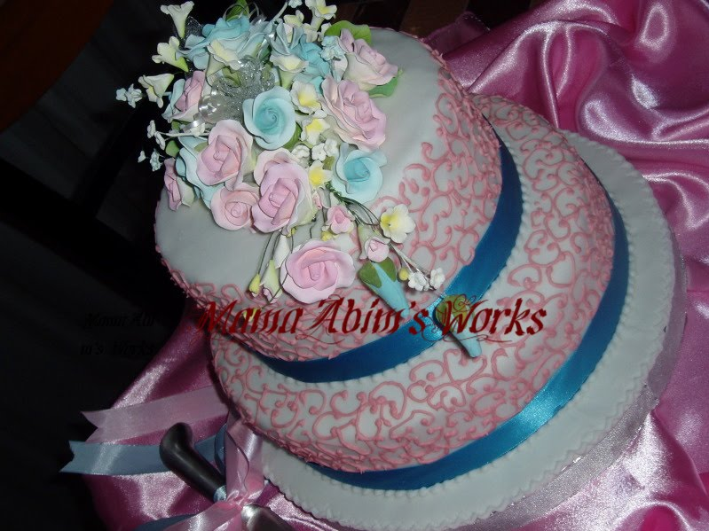 Lacy Pink with Blue Ribbon Wedding Cake Posted by MamaAbim 39s Passion at