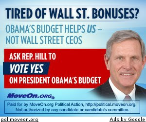 MoveOn.org Ad Urging Baron Hill to vote for Obama's budget.