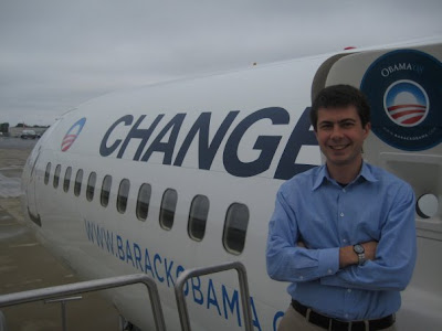 Pete Buttigieg with Barack Obama Campaign Plane