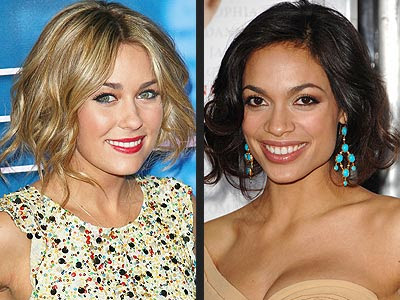 Rosario Dawson and Lauren Conrad tucked under their long hair into chic,