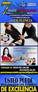 """Taller Magistral """"7 Pasos importantes para la Organización de Eventos Academicos, Corporativos y Empresariales"""""""