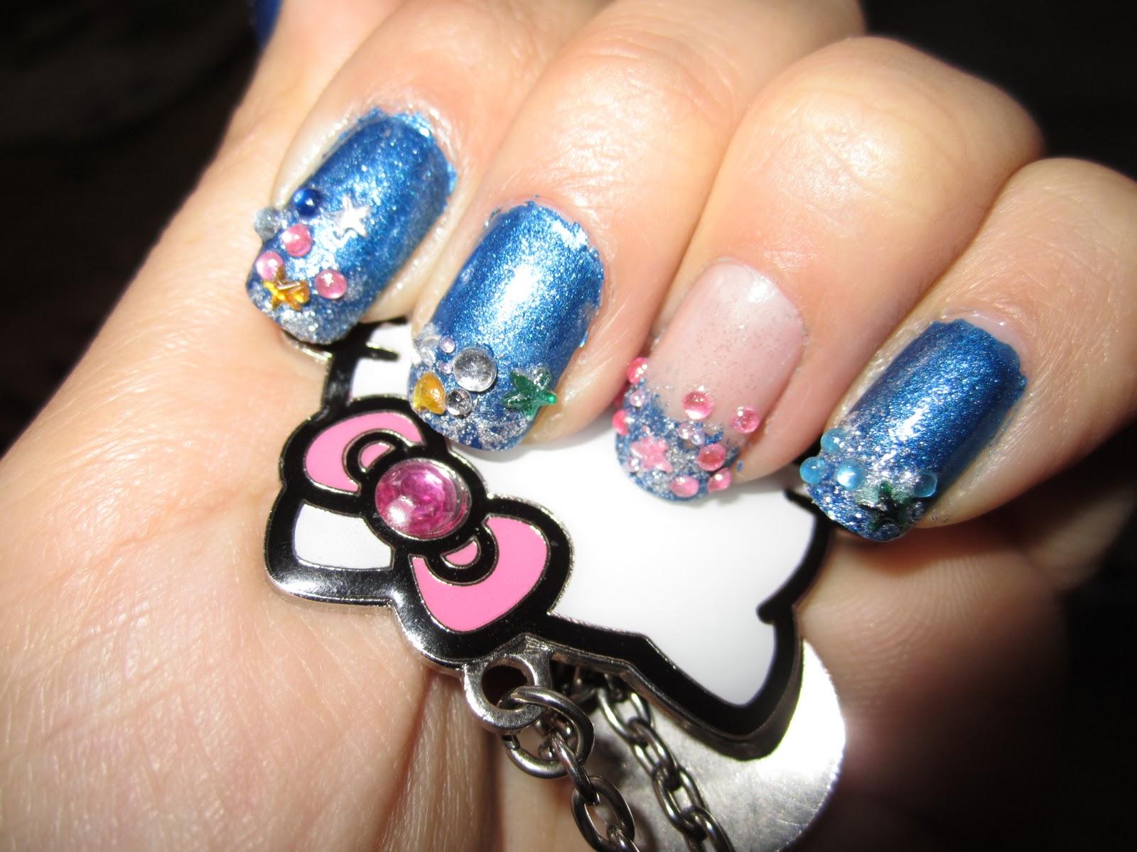♥: Pink and Black Zebra nail design / Blue rhinestones nail design