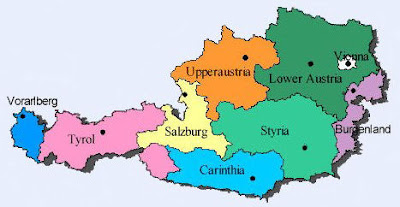 Around the World Maps: Austria Regions Map