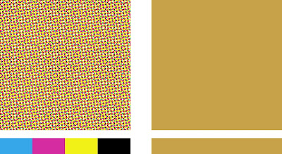 On The Left Below Is A Patch Of Color Created With 4 C Process Screens And Right Same Using Single Custom Ink