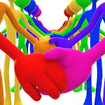 3D Full Spectrum Unity Holding Hands